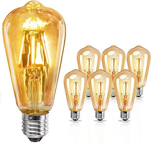 【6 Pack】E27 LED vintage glühbirne 4W - Edison Glühbirne E27, Leuchtmittel E27 warmweiß, Retro glühbirne für Zimmer Café Bar Restaurant