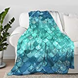 Blue and Green Metallic Mermaid Scale Pattern Throw Blanket Quilt Bedspread Flannel Ultra Soft Microfiber Luxurious Warm Cozy Bed Camping Couch Home Decor (S 50'X40' Inch for Kid)