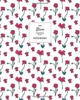 Bloom Notebook - Ruled Pages - 8x10 - Large: (White Edition) Fun Christmas notebook 192 ruled/lined pages (8x10 inches / 2...