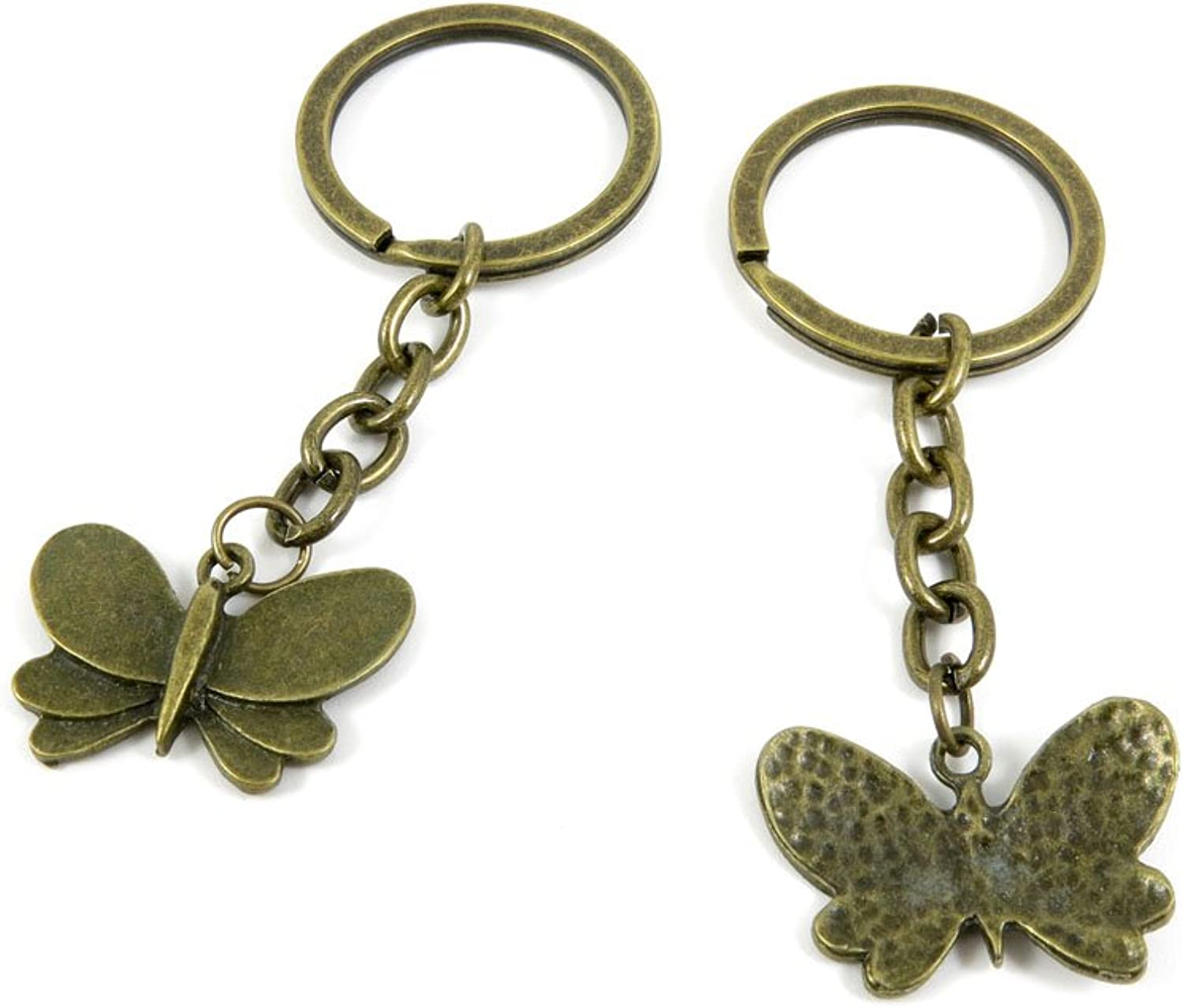100 PCS Keyrings Keychains Key Ring Chains Tags Jewelry Findings Clasps Buckles Supplies M2QI8 Butterfly
