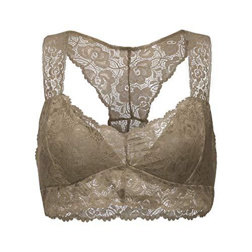 UOFOCO Women New Plus Size Crop Wire Free Bra Lingerie Sexy V-Neck Underwear Vest Gray