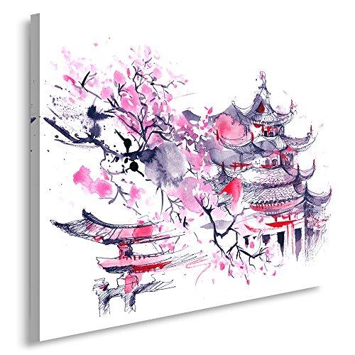 Feeby Frames, Cuadro en lienzo, Cuadro impresión, Cuadro decoración, Canvas de una pieza, 40x60 cm, CEREZO DEL JAPÓN, ABSTRACCIÓN, MORADO