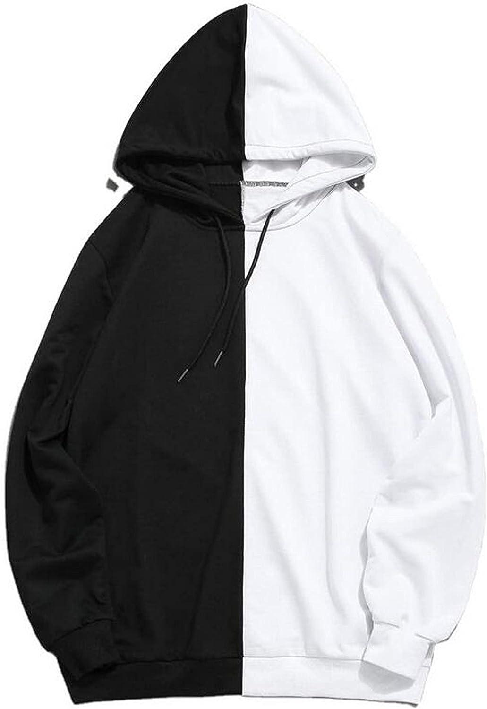 Men's White Sweatshirts Classic Black Splicing Hooded Pullover Long Sleeve Tops Fashion Street Sweatshirt