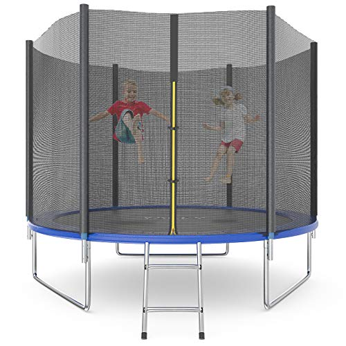 Trampoline 10 12 14 15 16FT Jump Recreational Trampolines with Enclosure Net, Combo Bounce Outdoor Trampoline for Kids and Adult, Non-Slip Ladder, ASTM Approved (14 15 16 FT with Basketball Hoop)
