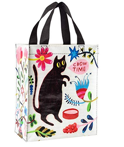 Blue Q Handy Tote ~ Kitty Says it's Chow Time. Reusable lunch bag, little tote, gift bag, sturdy and easy to clean, made from 95% recycled material, 10'h x 8.5'w x 4.5'd