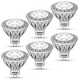 AGOTD Ampoule LEDs GU5.3 MR16 12V Spot Blanc Froid, 7W SMD Lampe, Haute compatibilité, No Flicker, Haute Luminosité, GU 5.3, 50WHalogène Lumière Equivalente, 6000k, 560LM, Aluminium,38° Deg, Pack de 6