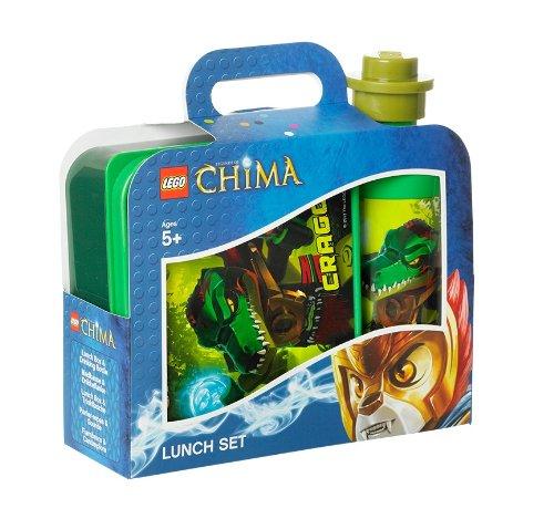 LEGO Lizenzkollektion 40591719 - Legends of Chima Frühsstücksset mit Brotdose und Trinkflasche, Motiv Cragger, grün