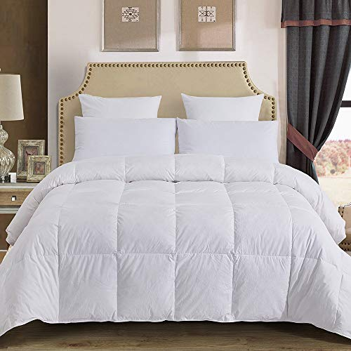Decroom 100% Cotton Quilted Down Comforter with White Goose Duck Down Feather Filling-Lightweight Duvet Insert , White, Oversize Queen