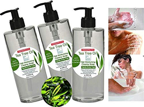 Jabón Pack Ahorro 3 x 200 ml Ultra Hidratante Terapéutico con Aceite de Árbol de Té Purificante Anti hongos Anti Acné - Gel de Baño - Gel de Ducha