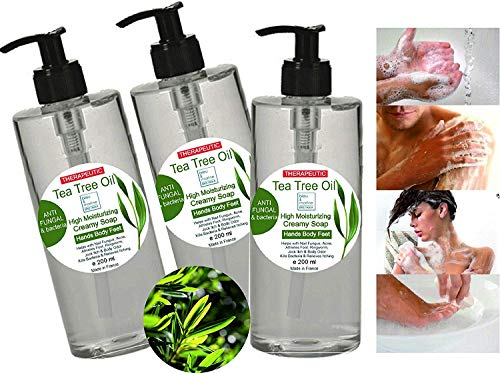 Gel disinfettante antibatterico Detergente Viso Acne, Corpo, Capelli con Tea Tree Olio 3 X 200 ml - Gel Doccia micosi unghie piede Shampoo Pidocchi ba