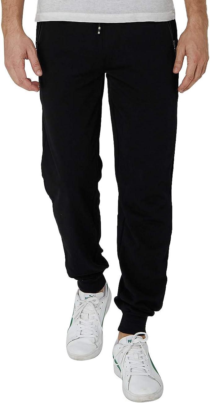 Idgreatim Pantalon Chandal Hombre Casuales Elástica Ajustable Algodón Largo Slim Fit Pantalones Deportivos Pants con Bolsillos