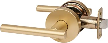 Designers Impressions Kain Design Contemporary Satin Brass Privacy Euro Door Lever Hardware (Bed and Bath): 77-3566