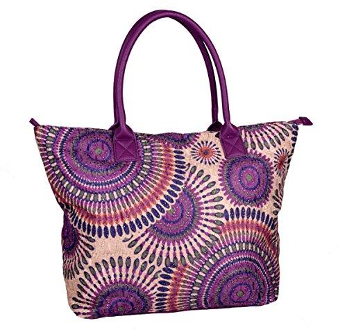 IWEA Damen Shopper Handtasche Schultertasche in Psychedelic Ethno Blumen Print Henkeltasche IW020, Lila