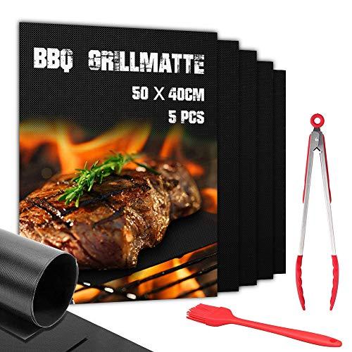 BBQ Grillmatte 50X40CM 7er Set FDA Teflon Grillmatten gasgrill 100% Antihaft PFOA-Frei Grillmatte für bis 260°C/500℉ (5 Matten +1 Pinsel + 12