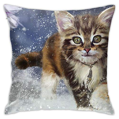 Throw Pillow Cover Cushion Cover Pillow Cases Decorative Linen Baby Cats Winter for Home Bed Decor Pillowcase,45x45CM