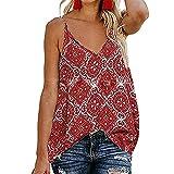 BAOQI Camiseta de tirantes para mujer de verano, talla grande, sin mangas, cuello en V, estampado africano, bohemio, suelta, camisas, chaleco, túnica, elegante, vintage, cómoda, blusa. rojo M