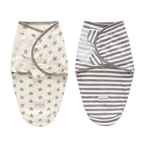 Weich und verstellbar 100% Baumwolle Infant Swaddle Wrap Decke für Unisex Babys (0-6 Monate) - Swaddle Up Wraps Schlafsack Newborn Baby Wrap Cloth-2 pack(L(3-6 Monate),B)