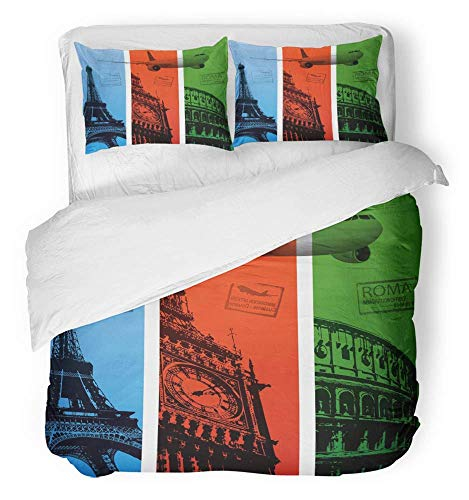 3 Piece Duvet Cover Set Breathable Brushed Microfiber Fabric Tower Travel Eiffel Paris London Rome Italy Passport France Bedding Set with 2 Pillow Covers Full/Queen Size