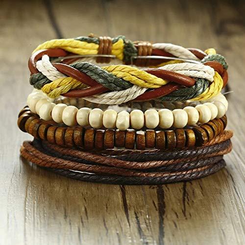 Armband 3-4 Stks/Set Gevlochten Lederen Armbanden, Vintage Poker Bedel Houten Kralen Etnische Tribal Polsbandjes