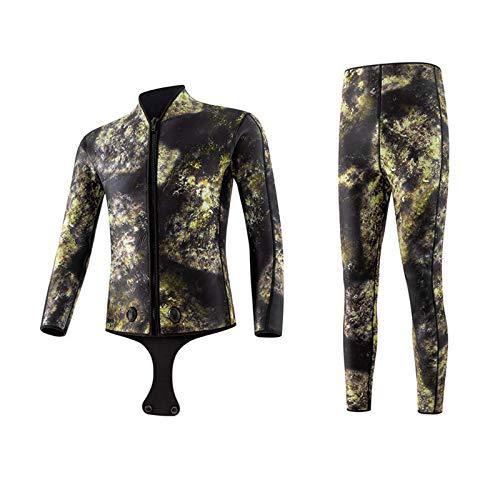3/5mm Neoprenanzug mit Kapuze für Herren, Camouflage Neopren-Winter-thermisches Tauchanzug Wetsuits, Ganzkörper Wasserdicht, für Scuba-Surf-Schwimmen A-3XL