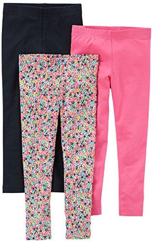 Carter's Baby Girls' 3-Pack Legging, Black/Floral/Pink, 6 Months