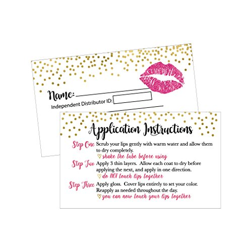 25 Lipstick Business Marketing Cards, How To Apply Application Instruction Tips Lip Distributor Advertising Supplies Tool Kit Items, Makeup Party For a Seller with Common Sense