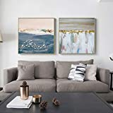 N / A Pintura sin Marco Abstracto Azul Set Ocean Fish on Canvas Poster decoración de la Pared Arte para Sala de Estar Dormitorio Comedor ZGQ8006 40X40cmx2