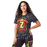 Zumba Loose Fitting Dance Fitness Graphic Tees Athletic Workout Top For Women Camisa, Negrita Negro 0, XL para Mujer