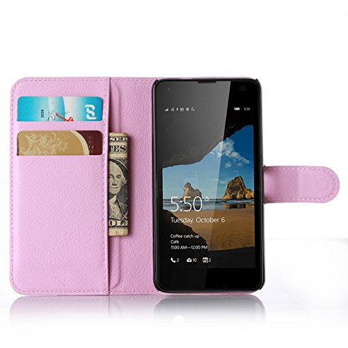 Tasche für Nokia Microsoft Lumia 550 Hülle, Ycloud PU Ledertasche Flip Cover Wallet Hülle Handyhülle mit Stand Function Credit Card Slots Bookstyle Purse Design rosa
