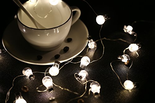MoKo Bulb String Light with Remote and Timer, 7.8ft 20 LED Battery Powered Fairy Light with 8 Lighting Modes, 12 Brightness, for Halloween Christmas Festival Parties Bedroom Decor - Warm White