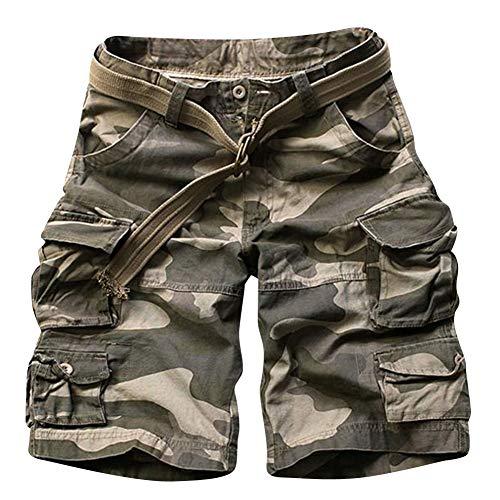 Shaoyao Bermudas Cargo Shorts Hombres Pantalones Cortos Leisure Militar Camuflaje Camuflaje Oscuro 2XL