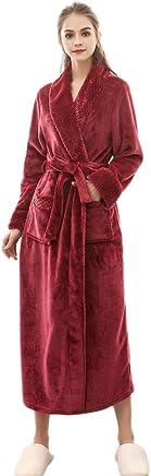 Donna Vestaglia Lunga Invernale in Flanella Accappatoio Spugna Lungo in Pile Pigiama per Casa Bagno Hotel Luoluoluo Vestaglia Lunga da Donna Uomo Morbido Pile con Cappuccio