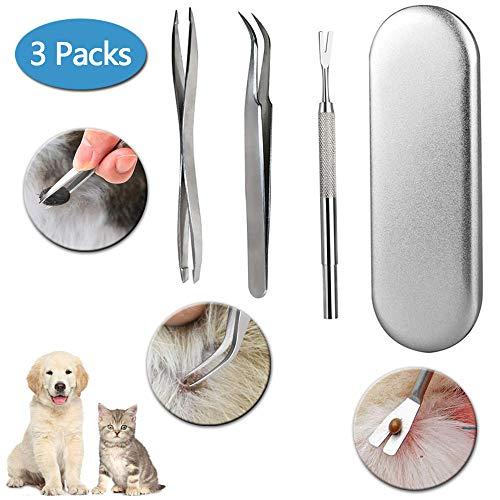 BOZHZO Zeckenzange,Zeckenentferner für Hunde,Zeckenzange Zeckenpinzette im 3er Set aus Edelstahl für Tiere und Menschen