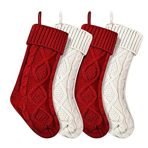 KU Syang Paquete de 4 Medias NavideeAs, 14,5 Pulgadas, Calcetines Tejidos con Cable, Regalos y DecoracióN para Vacaciones Familiares DecoracióN de la Fiesta NavideeA, A