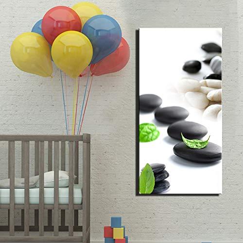 YuanMinglu Stein und grünes Blatt Leinwand Malerei auf Leinwand Wohnkultur Kunst Wandbild Wohnzimmer Schlafzimmer Rahmenloses Gemälde 30x60cm