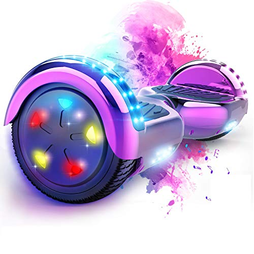 """MARKBOARD Patinete Eléctrico 6.5"""" Hover Scooter Board con Luces LED, Scooter Electrico Flash Ruedas con Bluetooth, Scooter Monopatín Auto Equilibrio"""