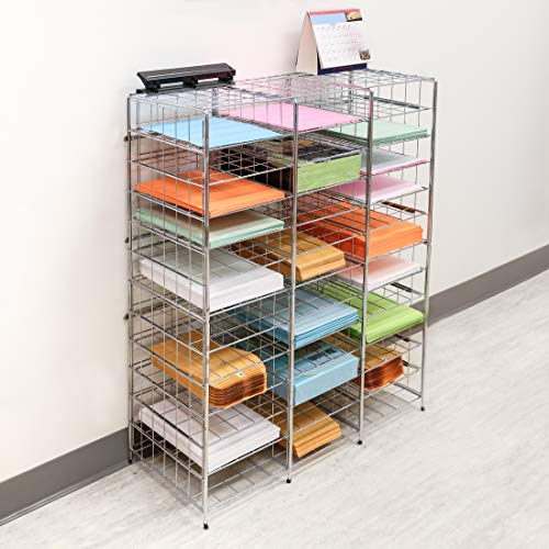 Seville Classics Stacking 10 Slot Desktop and Mailroom Letter File Literature Organizer, Tray, Silver