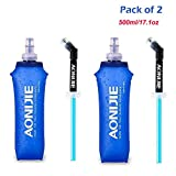 AONIJIE Pack 2 TPU Soft Hydration Water Bottle BPA-Free Collapsible Flask-Use in Hydration Vest for Marathon...