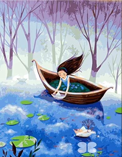 Ivansung DIY olieverfschilderij op nummer kit themakit voor volwassenen meisjes kinderen wit Kerstmis decoratie geschenken kleine papieren boot 40 x 50 cm / 15,80 x 19,70 inch