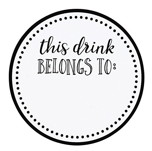 Juvale Drink Markers - 500-Pack Drink Stickers, This Drink Belongs to, Blank Drink Labels for Drink Party, Wedding, Bridal Shower, Birthday Party Supplies, Cup Marker Sticker Roll, 2 inches Diameter