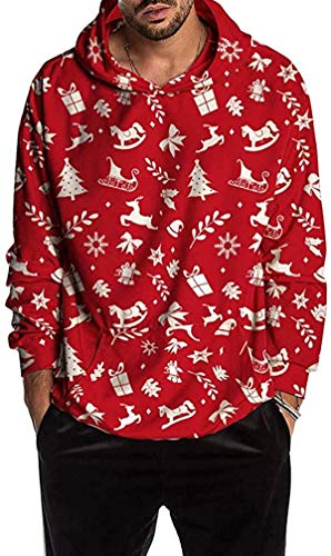 RBELEF Mens Christmas Jacket Fun Ugly 3D Print Long Sleeve Hoodie Coat Sport Top