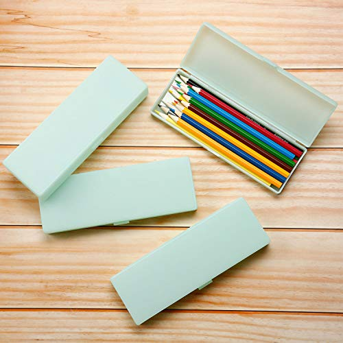 4 Pieces Plastic Pencil Case Plastic Stationery Case with Hinged Lid and Snap Closure for Pencils, Pens, Drill Bits, Office Supplies (Green)
