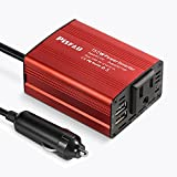 Power Inverter 150W Car Outlet Adapter Dc 12V to 110V AC Converter with 3.1A Dual USB Ports, Laptop Computer Car Charger with Plug Outlet