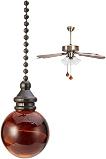 Ceiling Fan Pull Chain Extension Bronze Amber ball Pendant Pull Chain,Ceiling light Fan Chain Extender with Ball Chain Connector