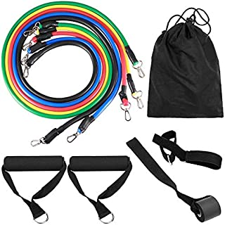 RuiXue 11pcs Latex Resistance Bands Fitness Exercise Tube Rope Set Yoga ABS P90X Workout