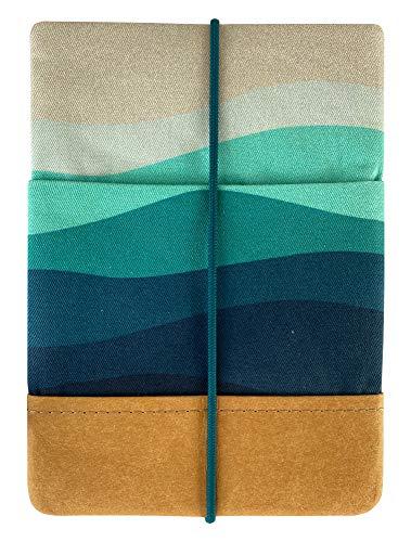 Kuratist eBook Reader Sleeve - Handgemacht aus 100% Baumwolle und Kantenschutz aus Papier in Lederoptik (100% Vegan) (6 Zoll/Tolino Shine 2/3 HD/Vision 2/3/4 HD, Deep Sea)