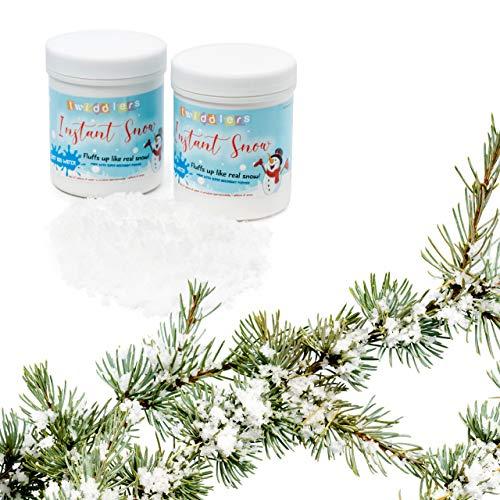 Kunstschnee Falscher Schnee flauschig mit Wasser mischen - Ideal für Weihnachtsdekorationen, Dekorationen, Events & Partys - Realistisch aussehend, effektiv, wiederverwendbar, ungiftig- 2 STUCK