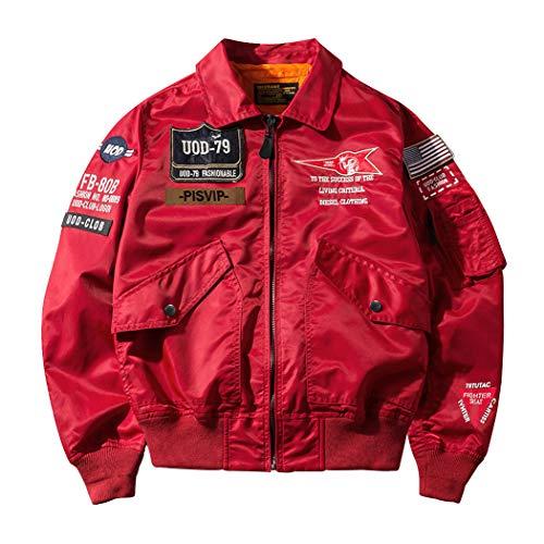 SemiAugust(セミオーガスト)アウター メンズ フライトジャケット ma-1 ブルゾン ワッペン ミリタリー ジャケット ナイロン ジャンパー エムエーワン 春服 redL