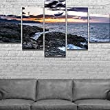 PEJHQY 5 Piezas HD Print Waves and Sunset Seaview Picture Painting Canvas Wall Art Picture Decoración del hogar Living Room Canvas Painting,Cuadros en Lienzo Madrid