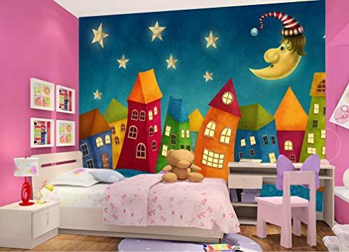 Wandbilder 3D Fototapete Cartoon Haus Mond Wohnzimmer Schlafzimmer Wand Kinderzimmer Wohnkultur Seidentuch Anpassbare Größe 200(B) X140(H) Cm